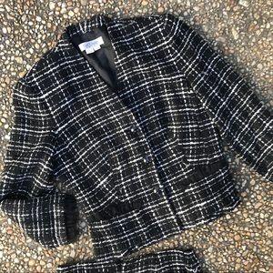 Kay Unger black tweed fringe skirt suit 4